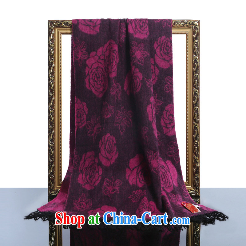 HANG SENG Yuen Cheung-long scarf shawl two ultra-long spring and two-sided printing Air Conditioning shawl thick shawl gift (gift boxed) Pure cashmere wool texture scarf Roses of red