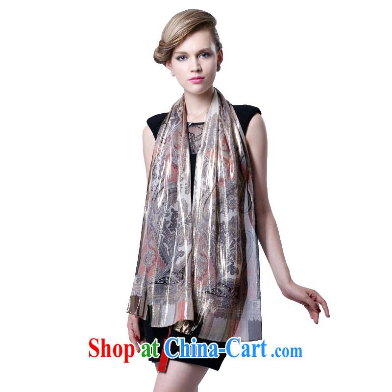 HANG SENG Yuen Cheung-dos santos Ms. silk long silk scarf silk silk scarf _gift boxed_ light Avalanche gray coffee color