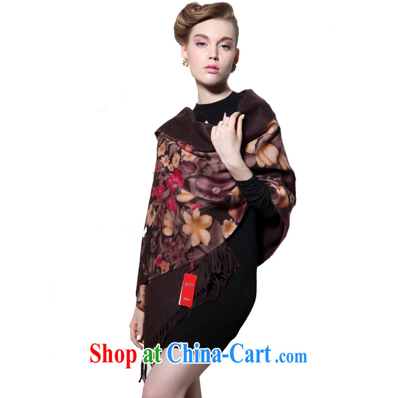 HANG SENG Yuen Cheung-pure wool thick long Cape air-conditioning shawl hanging women infected with _gift boxed_ SF brown 3037