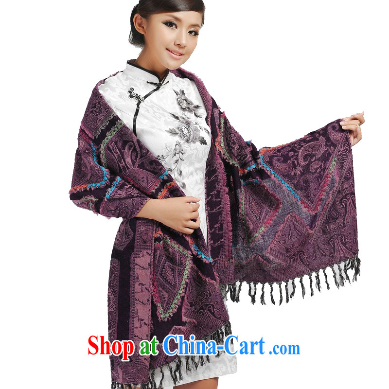 Today's story Indian style thick women upscale wool embroidered hot drill shawl 100% pure wool JD 175,065 purple
