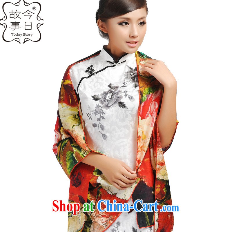 Today's story upscale Hangzhou Shanghai Silk is silk painting satin-silk scarf beach towel scarf 192,022 large Peony red