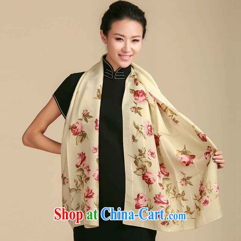 Shanghai Story stamp duty wool scarf love Ms. rose long stamp scarf 104911403 beige are code