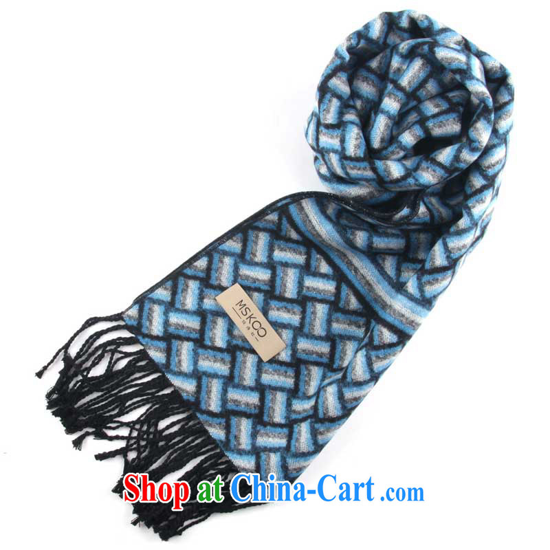 Her poetry _MSKOO_ sauna silk scarf men, two-sided brushed his blue scarf MS - 5058