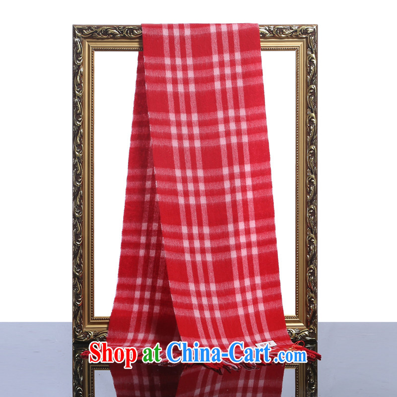 HANG SENG Yuen Cheung-2015 new Pure wool men, scarves - red cell _gift boxed_ red cell