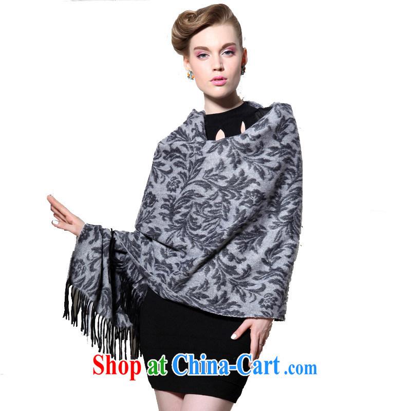 HANG SENG Yuen Cheung-pure wool thick and long, Ms. Cape Air Conditioning shawl Tang Cheuk-yan (gift boxed) gray