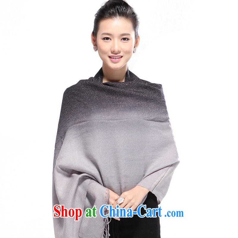 Shanghai Story counters, genuine Korean girls fleece long silver wire thickness gradient scarf black