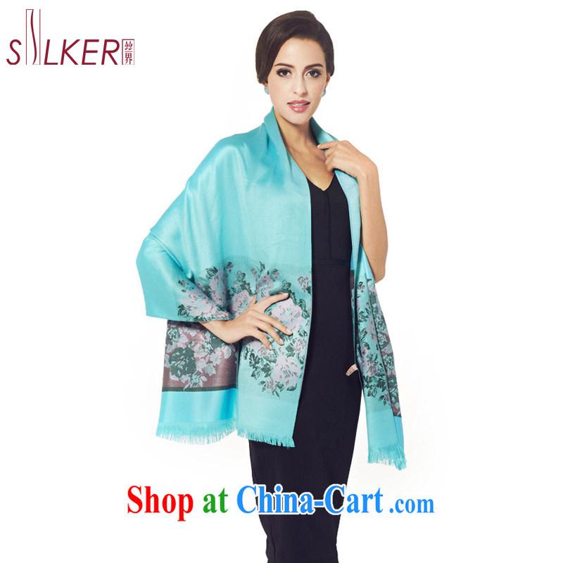silk industry SIGI new Korean scarf stylish stamp duty cotton Ma Air Conditioning shawl long silk scarf elegant peony flower shawl peony flowers Kumho blue