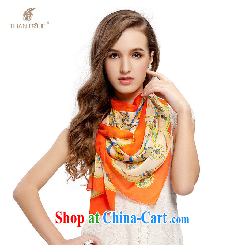 really enjoy her spring and summer 100_ sauna silk silk scarf A 004 red-orange