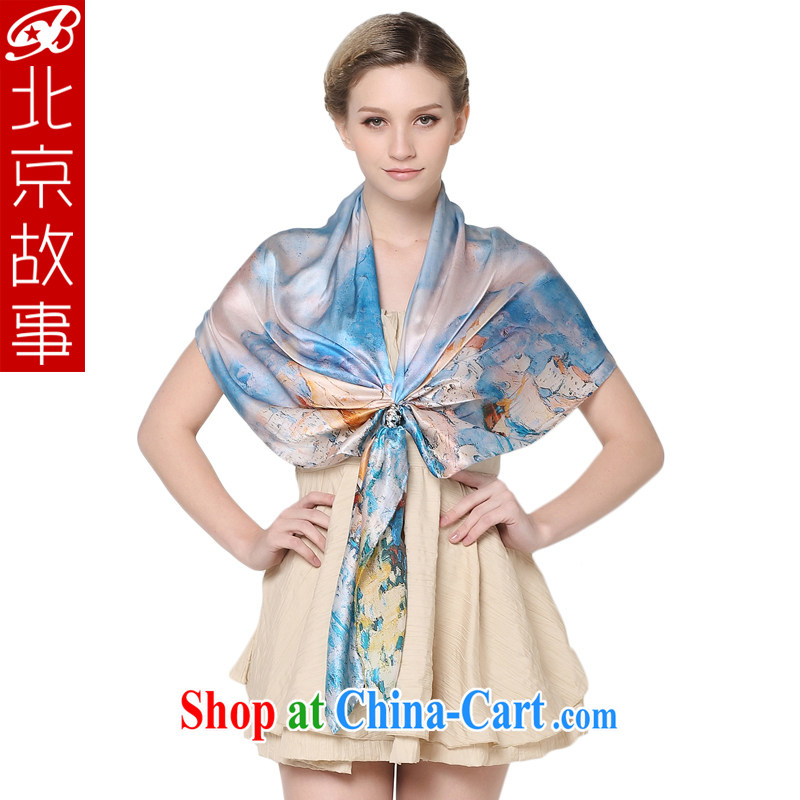 Beijing story dos santos Ms. silk silk silk scarf scarves spring and fall, exclusive fashion scarves shawls long silk scarf scarf girl 104,017 blue