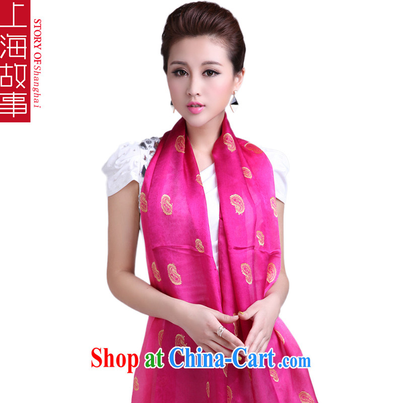 Shanghai Story silk silk scarf, mulberry silk scarf gradient rectangular air-conditioned shawl sunscreen muslin square of red gradient