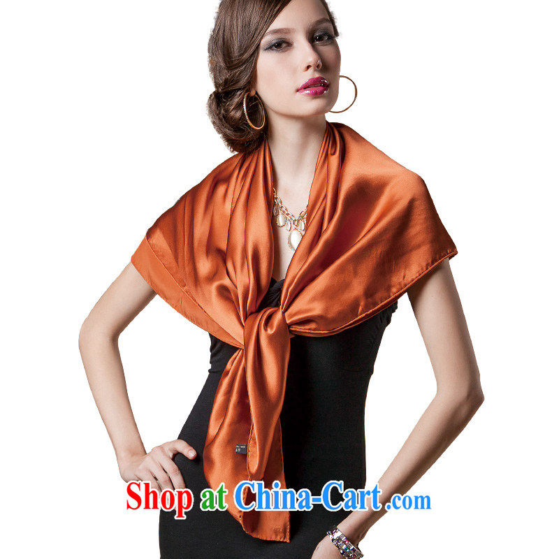 The AE Connie ZASN spring 100_ silk sauna silk Satin silk solid color gift silk scarf and classy towel DF 002 Gold Red Scarf and poised.