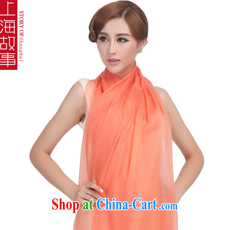 Shanghai Story, pure Cashmere scarf shawl high candy color 100 ground, scarf light orange