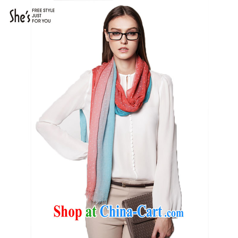 Mrs Rosanna Ure shes a silk scarf knocked color heart-shaped wave-flow so long scarf SSP 9719304 A0 code