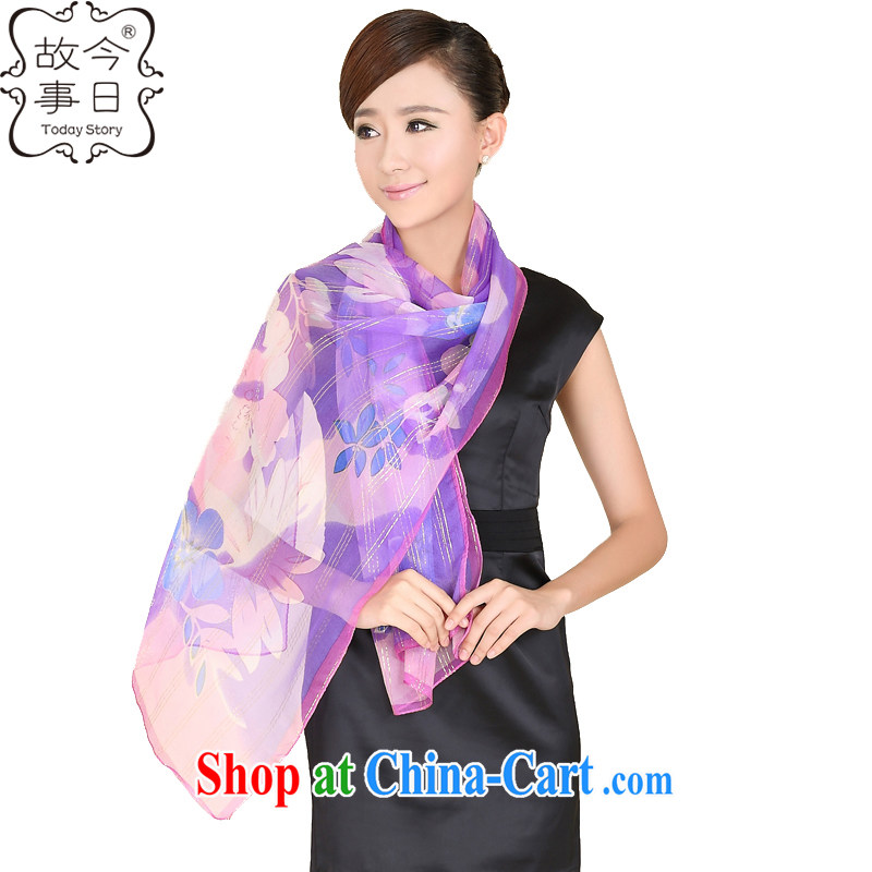 Today's story, sexy Leopard chain silk scarf with gold thread leaves take sunscreen, beach towels beach towels 100% sauna 185,015 silk leaves purple flowers