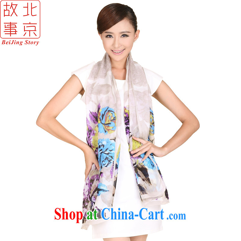 Beijing stories blooming, zig-zag Joe its silk long scarf Chinese ink style upscale silk scarf 158,018 blue-violet