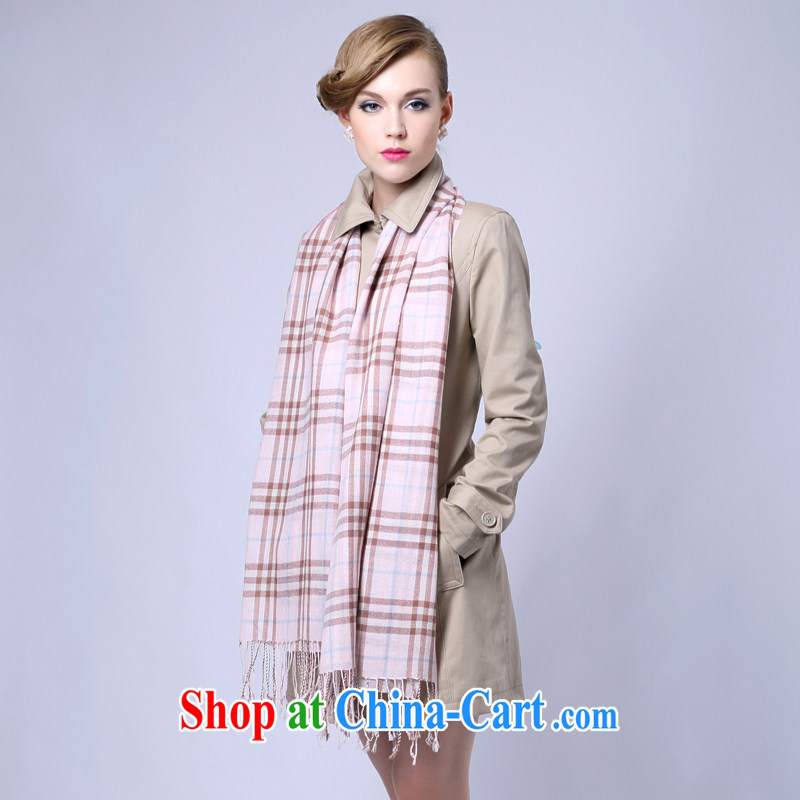 HANG SENG Yuen Cheung-long scarf shawl two ultra-long spring and air-conditioned shawl, shawl as a gift (gift boxed) Pure cashmere wool texture scarf plaid print small bar, pink, the Hang Seng source Cheung, shopping on the Internet