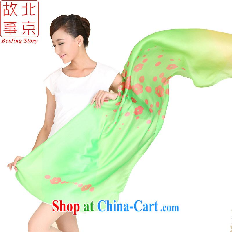 Beijing story new Korean Princess gradient snow woven silk scarf stamp spell color women scarf 158,042 green