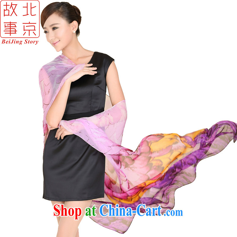 Beijing story New 7 color feather stamp high quality silk scarf 100% silk dos santos classy and stylish towel purple 167,027
