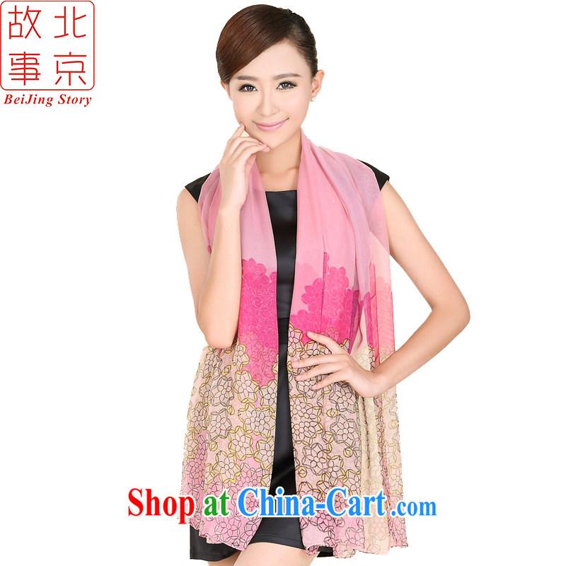 Beijing story New sangsahwa dance style wide scarf Korea Ms. Princess retro floral long silk scarf 167,047 pink