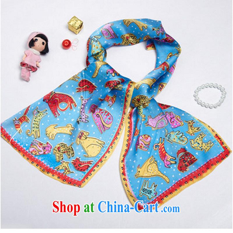 Korea wo really only the US animal scarf scarves shawl scarf tie silk female silk scarf silk scarf blue animal