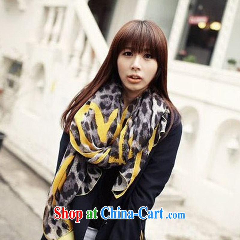 fall and winter new brown love Leopard scarf peach heart scarf shawl two ultra-long silk scarf WSJ 131,001 yellow length _CM 90 _ 180