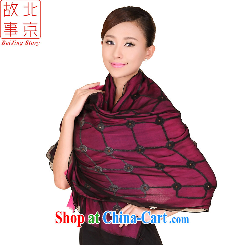 Beijing story autumn and winter new wool key, silk-flower wool scarf thick double warm shawl of 158,083 red