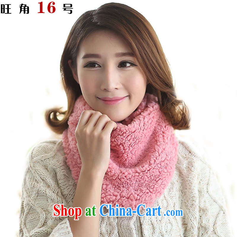 Mong Kok 16 autumn and winter thick coral lint-free female Solid Color warm scarf plush also set pink