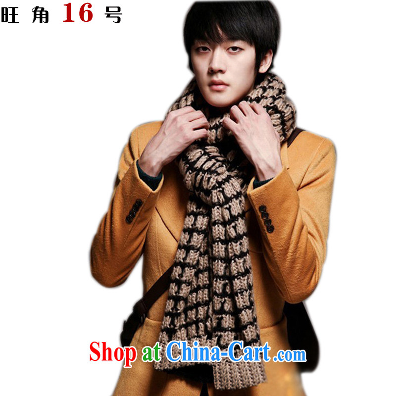 Mong Kok No. 16 autumn and winter men and women couples, knocked color the wool scarf warm tartan thick scarf black gold