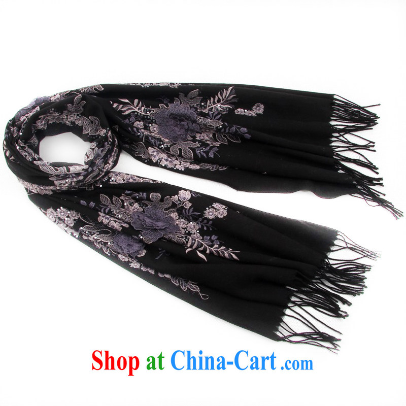 Shanghai Story upscale embroidered shawl autumn and winter warm New 100% wool scarf large gift sets 149,059 black