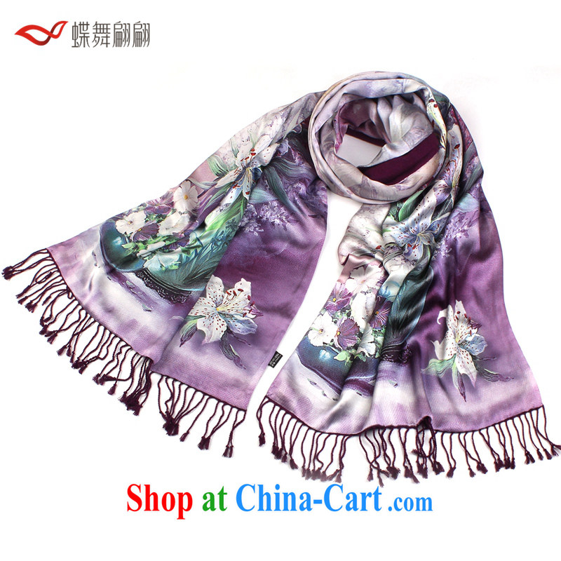 Butterfly Dance cue silk brushed two-sided scarf warm shawls Long _14