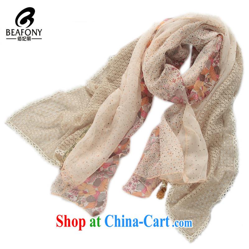 Bai Princess beautiful classic autumn and winter, idyllic quality snow woven Openwork lace stitching long, scarf shawl YNN 1673 beige see commodity properties