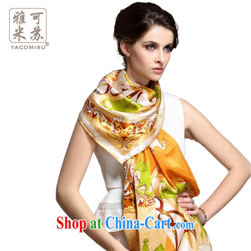 Ya M Su silk scarf girl spring long high sauna silk scarf stylish big silk scarf girl stamp scarf shawl long towel business gift, Angela Angela orange