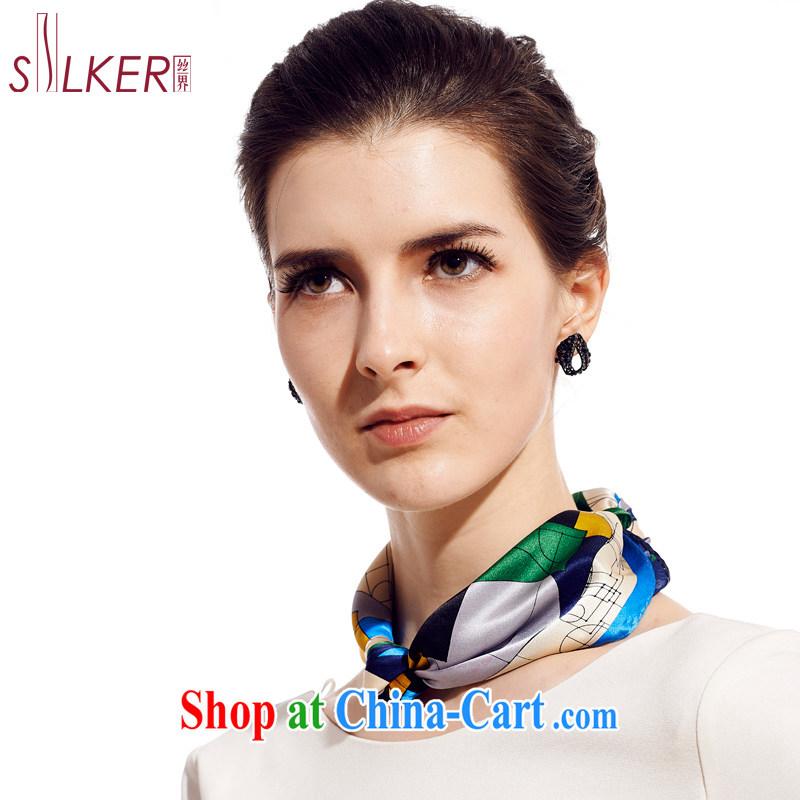 silk industry Ms. SIGI silk scarf 100 ground, silk scarf, silk silk small towel Magic Kingdom green