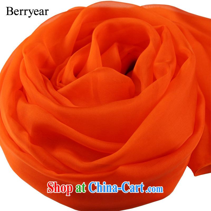 Berryear Western high-end orange dos santos Ms. silk scarf orange silk silk scarf long Solid Color silk scarf large shawl orange 250 _ 130 CM