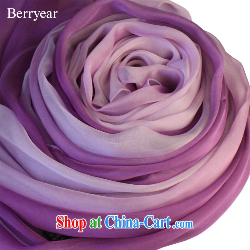 Berryear Korean Ladies silk scarf purple gradient sauna silk silk scarf extra long silk scarf standard 200 * 65 CM