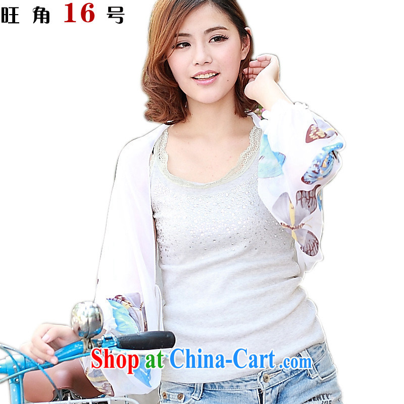 Mong Kok 16, sunscreen shirts sunscreen Air Conditioning shawl size butterfly white