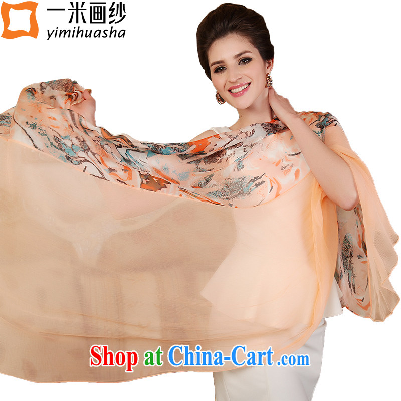 A one-meter animation yarn new 100% sauna silk silk scarf, long silk scarf shawl patterns and rivers poetic Landscape - light orange