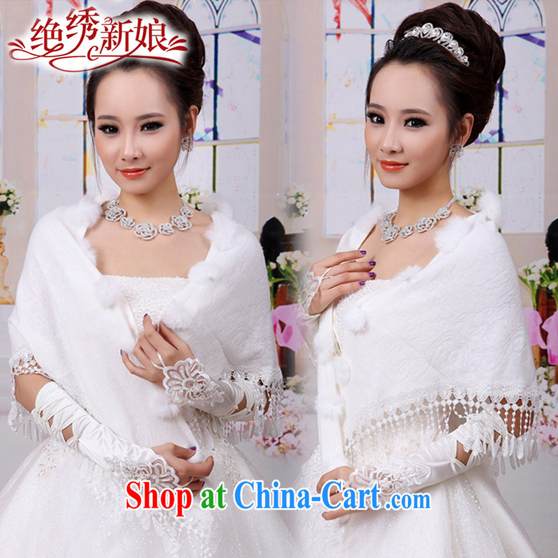 There is a bride's spring and summer dresses shawls marriages wedding dresses red shawl class Ms. small shawl PJ 918 meters white