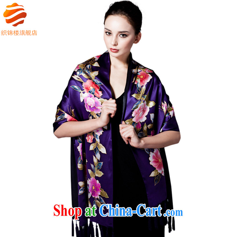 Tapestries floor flagship store China wind stamp silk double-su shawl upscale spring sauna silk scarf gift purple