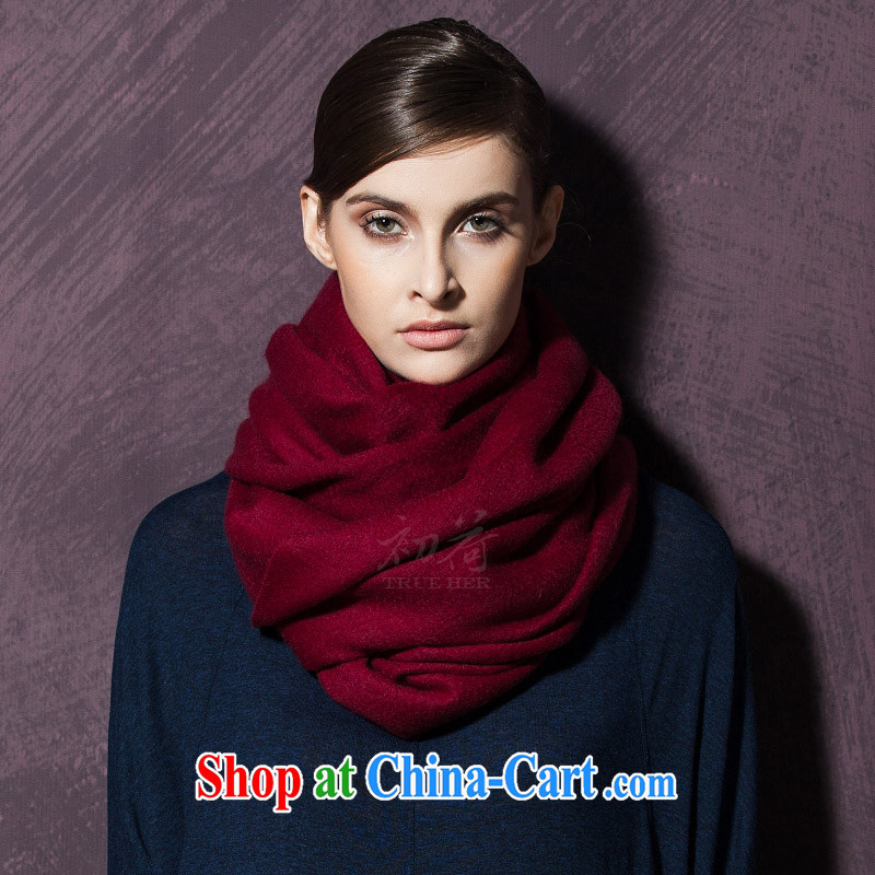 I should be grateful if you early Trueher shawl high-end plain pashmina shawl, Ms. autumn and winter thick Cashmere scarf long pure wine red, and I should be grateful if you early (TRUE HER), online shopping