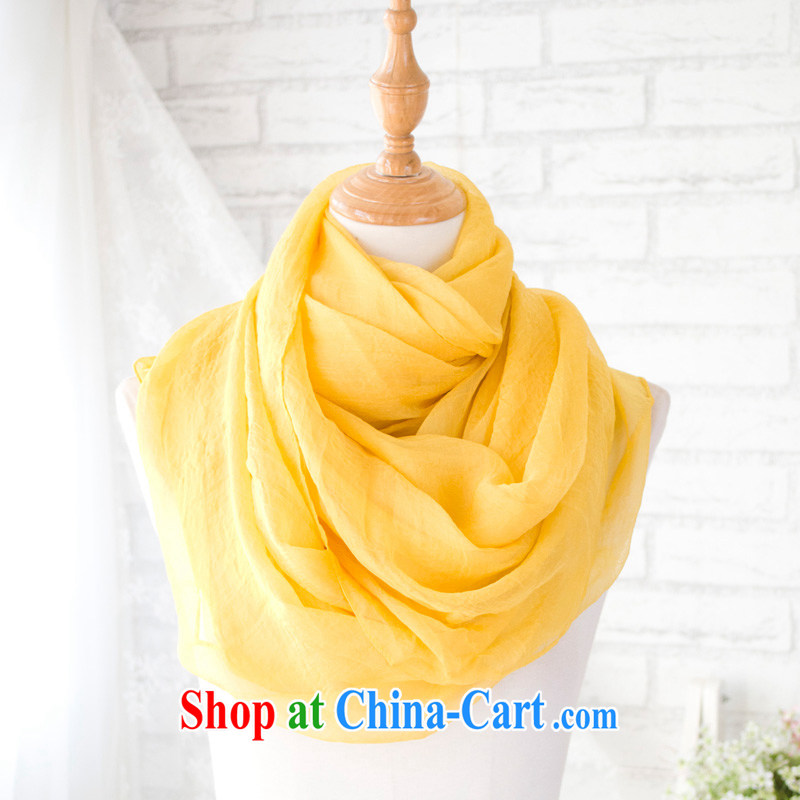 Hung-chun Korean autumn and winter, solid-colored long silk scarf/shawl snow-woven large sunscreen scarves, yellow