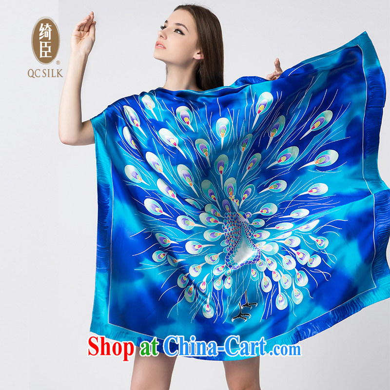 Cheer Chen silk scarf and classy silk scarf shawl scarf with two large hand-painted silk scarf girl winter sauna silk Peacock pattern