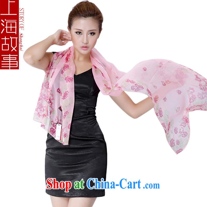 Shanghai Story sauna silk silk scarf girl spring muslin square silk scarf long sunscreen shawl Pink Lady