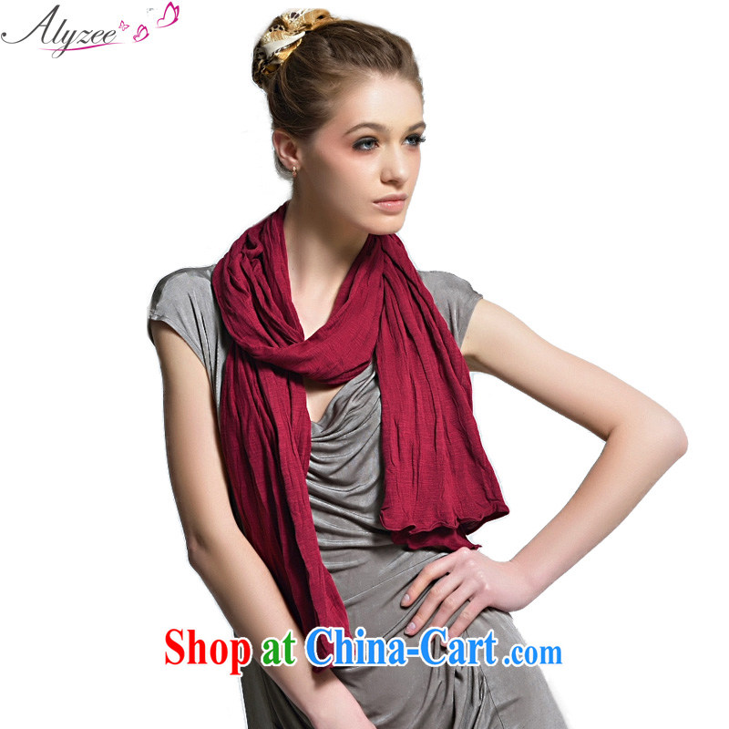 Alyzee Alice in autumn and winter new cotton scarf girl volume take solid color breathable sunshade Air Conditioning Cape wine red