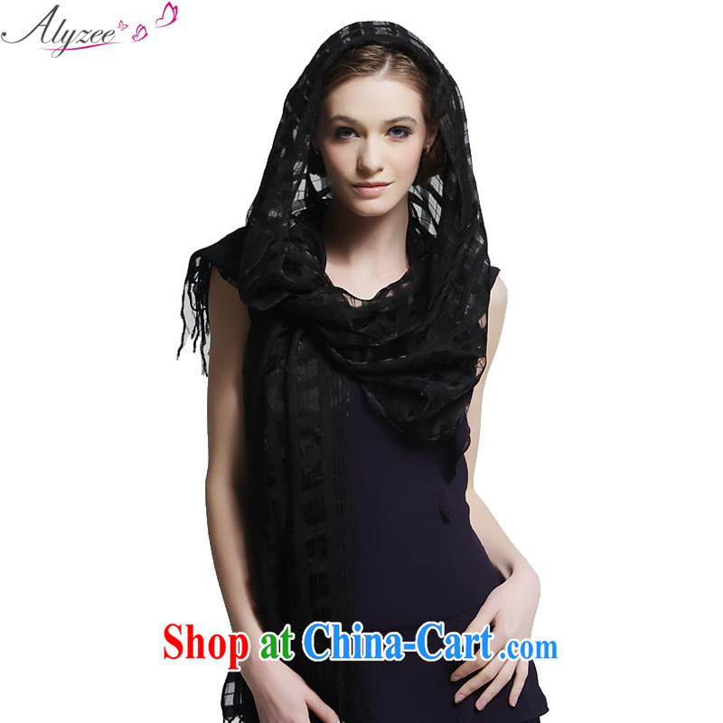 Alyzee Alice in new scarf summer tartan scarf stylish solid-colored breathable shawl black