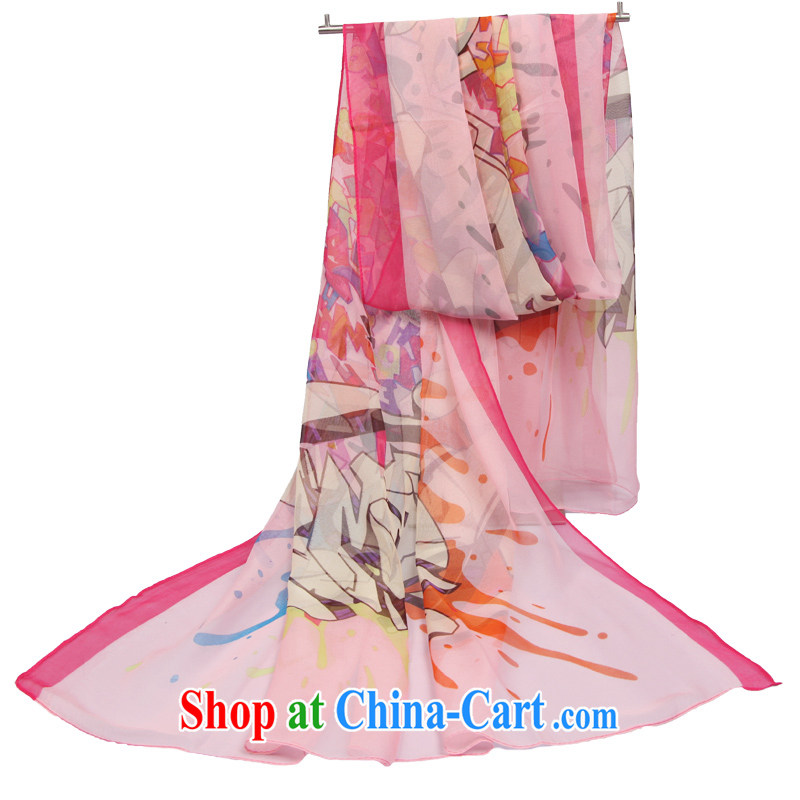 The World card 2015 new sunscreen silk scarf knocked color graffiti big snow woven silk scarf shawl stylish upmarket Joe its emulation, long silk scarf half-Summer Time - pink