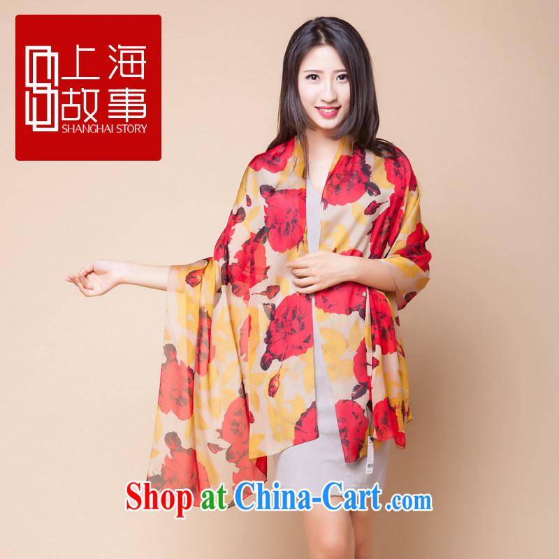 Shanghai Story, long, sauna silk silk scarf summer sunscreen Cape painted silk scarf Chiung-chih-yu, Cayman and, flower - Red