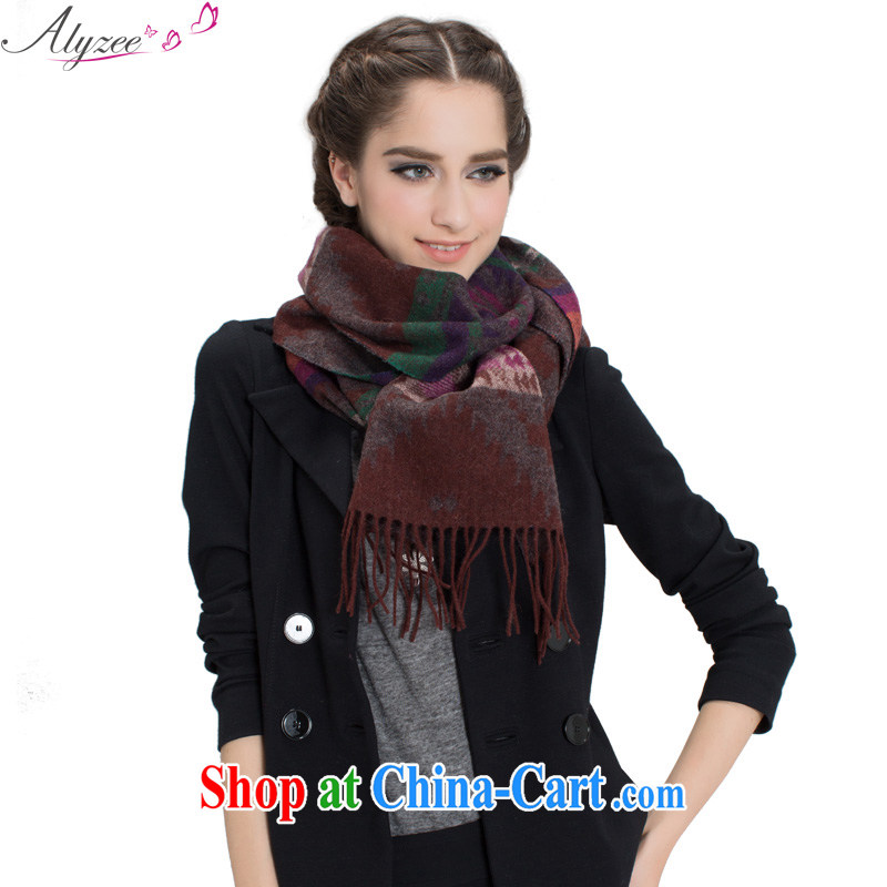 Alyzee Alice in autumn and winter, new geometry Ms. jacquard wool warm thick scarf shawl brown