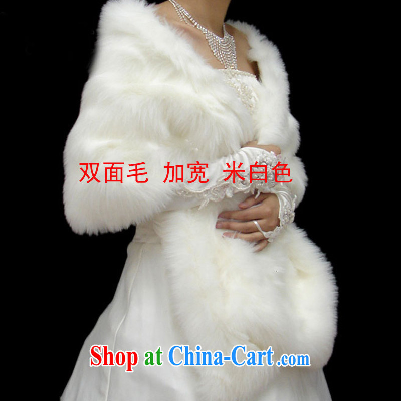 Rain is still clothing bridal hair shawl white winter wedding wedding dresses shawls long hair warm outfit jacket thick large shawl PJ 013 m White 2-Sided hair widen