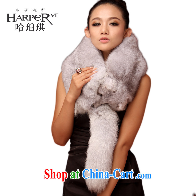 harper Angel crowning glory the only large Fox leather luxurious hotel fur scarf Fox hair scarves fur scarves hair for wedding shawl small shoulder, silver blue